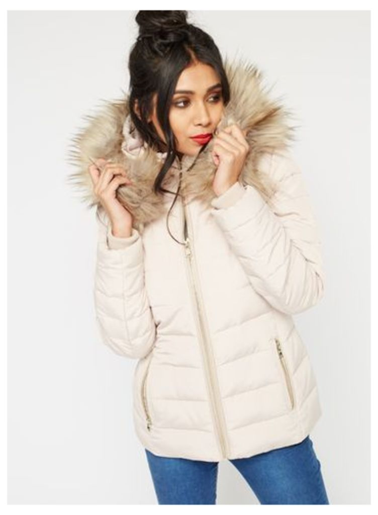 Womens Nude Quilted Puffer Coat, Nude
