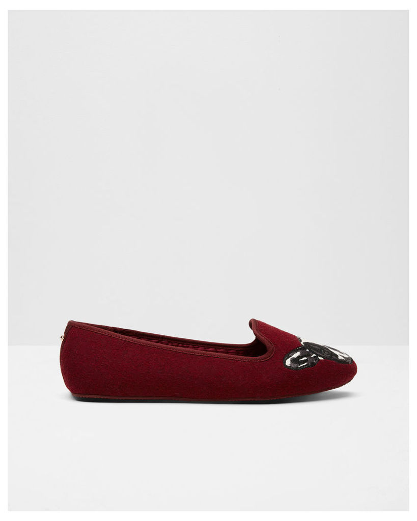 Ted Baker Puppy and paw slippers Oxblood