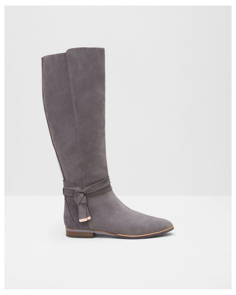 Ted Baker Tie detail knee high suede boots Grey