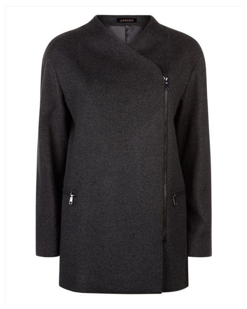 Wool Zip Detail Coat