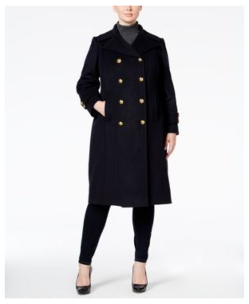 Anne Klein Plus Size Wool-Cashmere-Blend Military Walker Coat