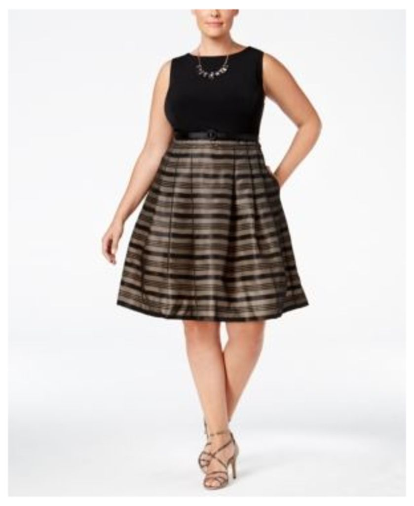 Jessica Howard Plus Size Striped Fit & Flare Dress