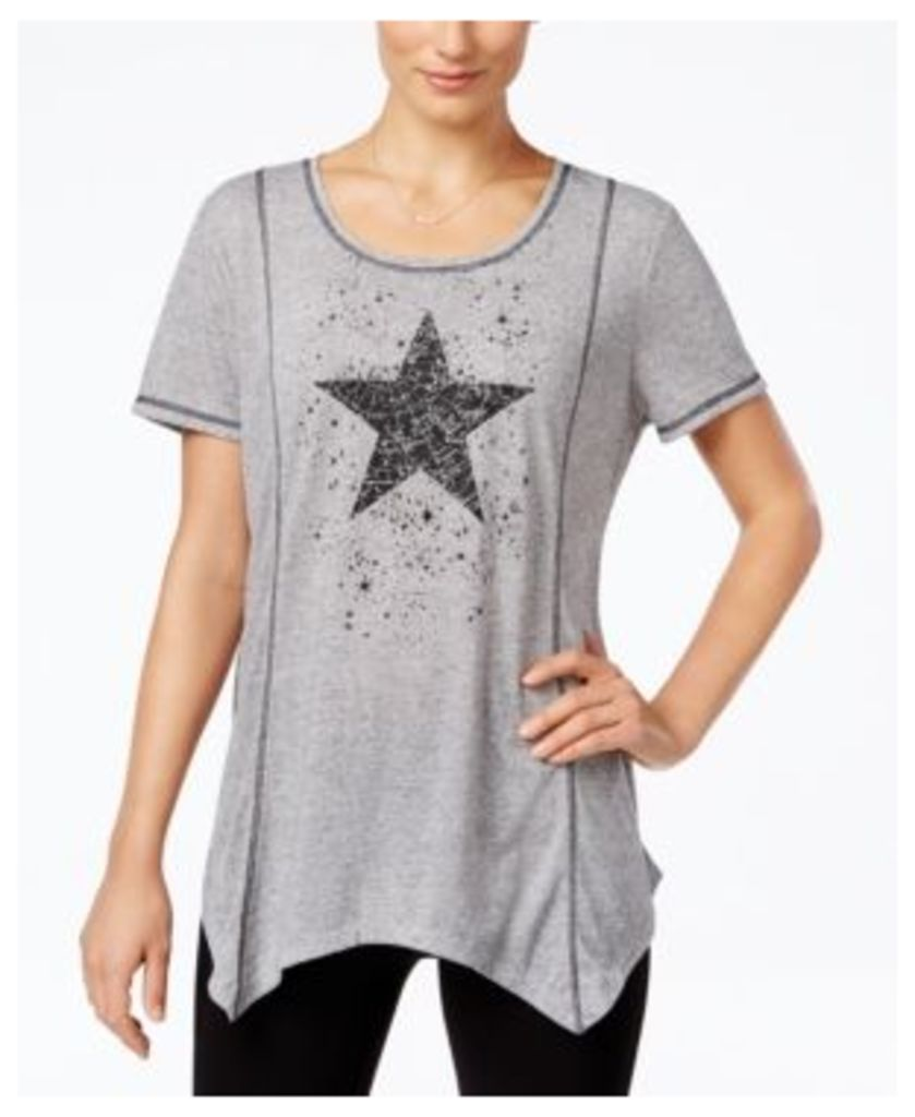 Style & Co. Star Graphic Handkerchief-Hem Top, Only at Macy's