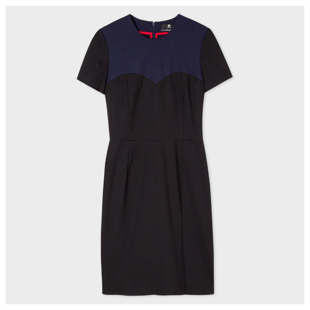 Women's Black And Navy Milano Shift Dress