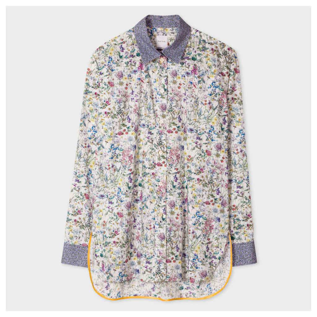 Women's Floral Cotton Shirt With 'Bee' Cuff Linings