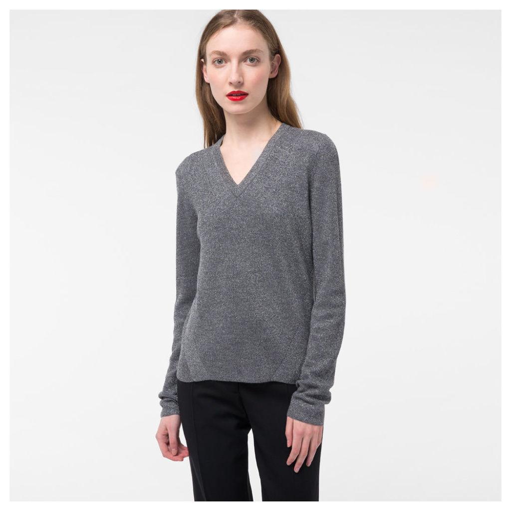 Women's Glittered Grey Wool-Blend V-Neck Sweater