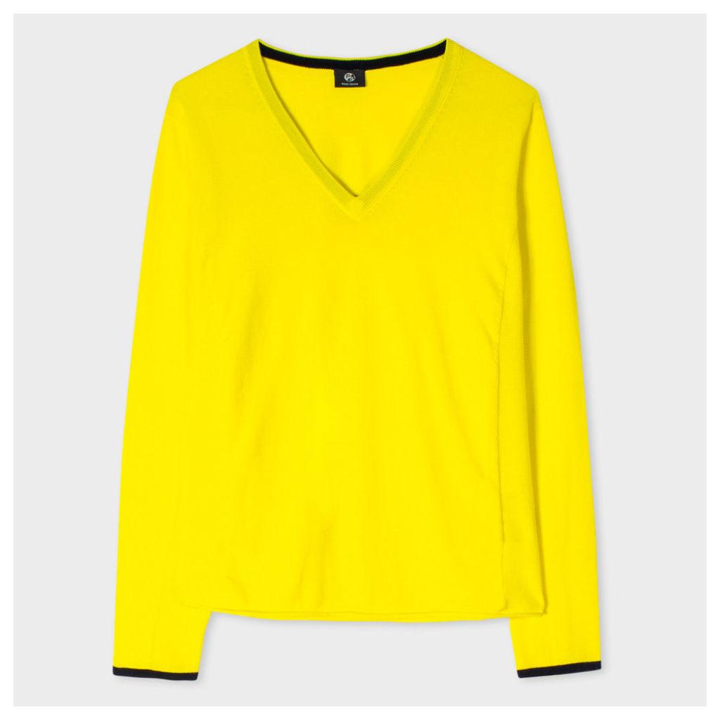 Women's Yellow Cotton V-Neck Sweater