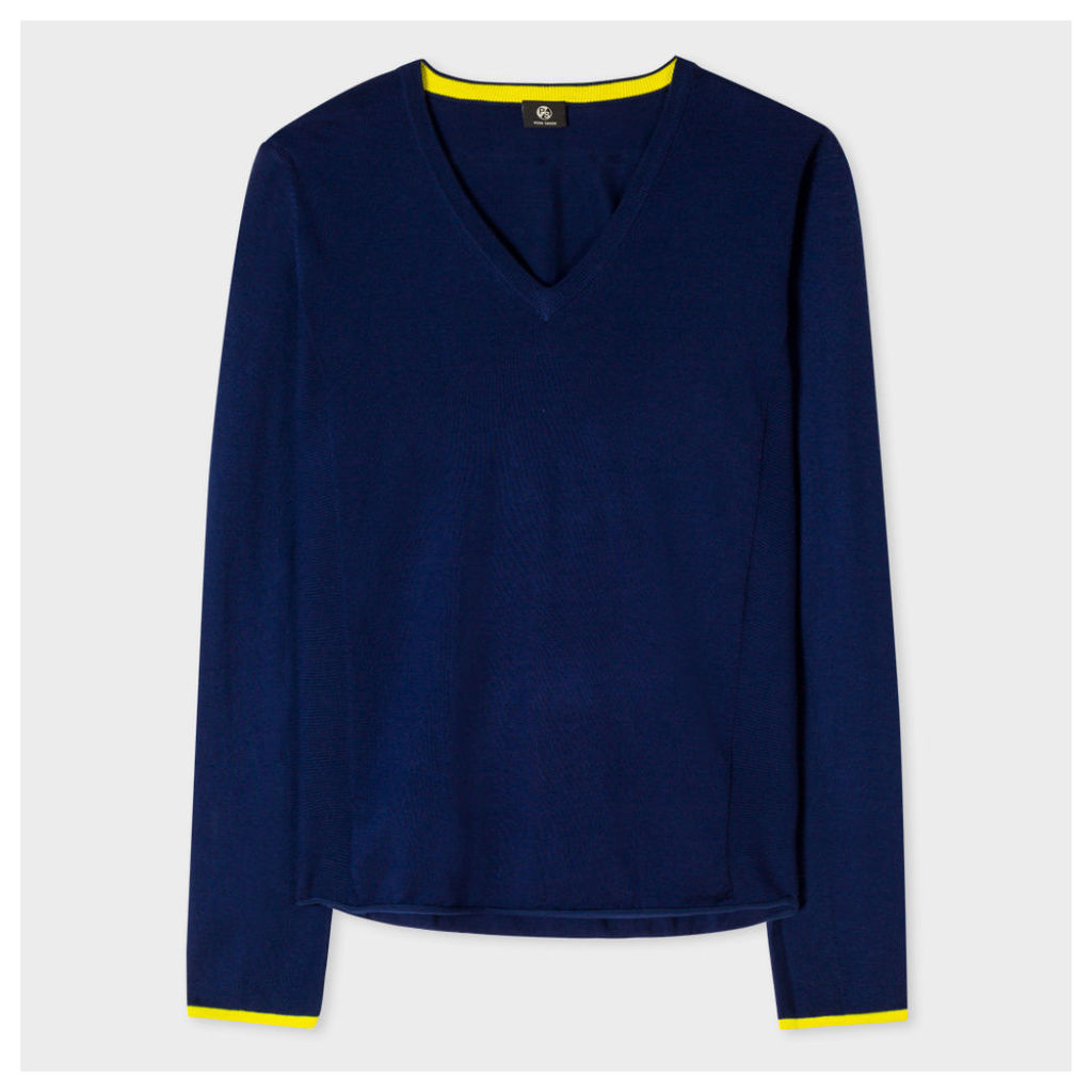Women's Navy Cotton V-Neck Sweater