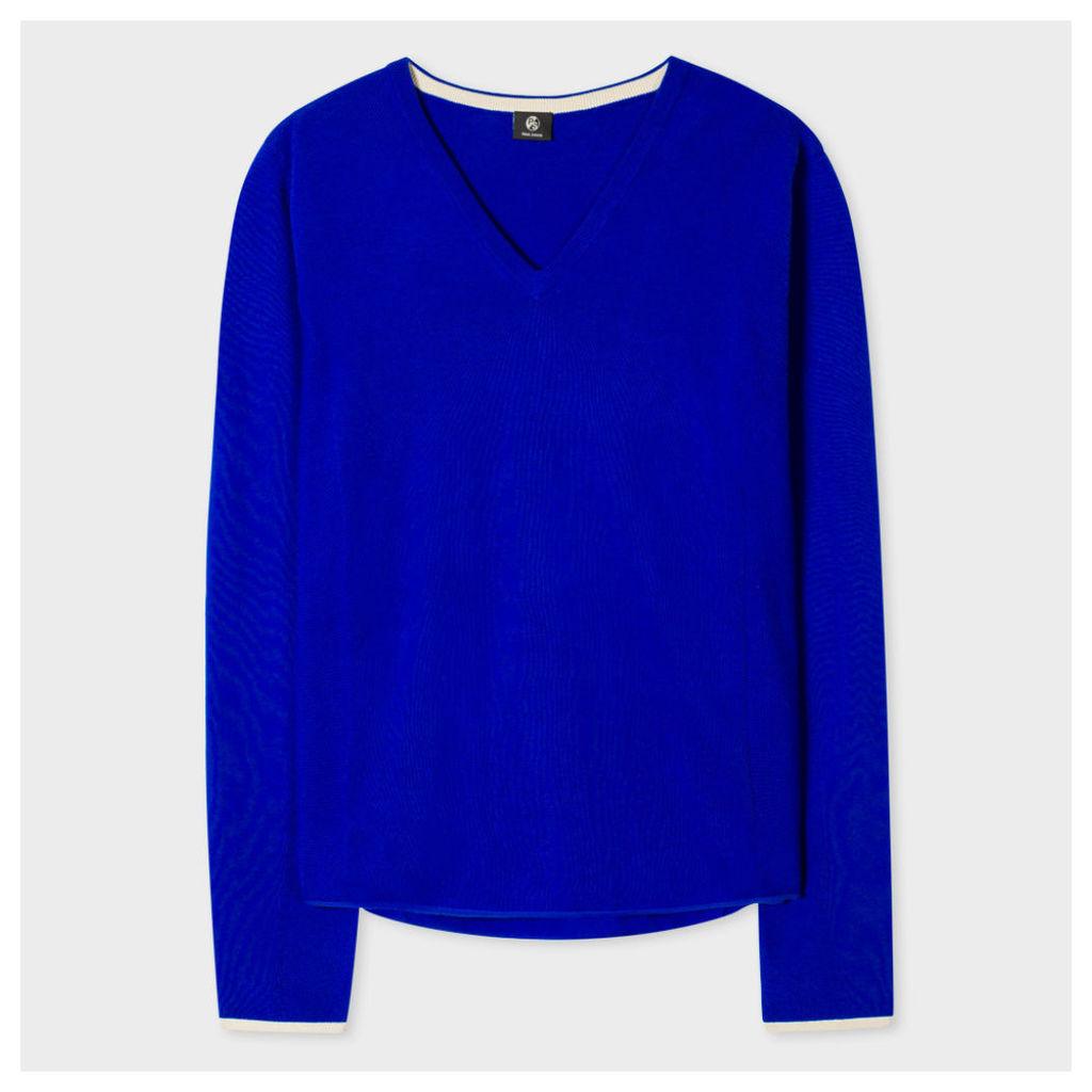 Women's Blue Cotton V-Neck Sweater