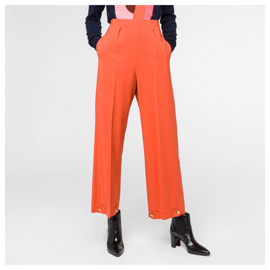 Women's Burnt Orange Cady Trousers With Button-Cuffs