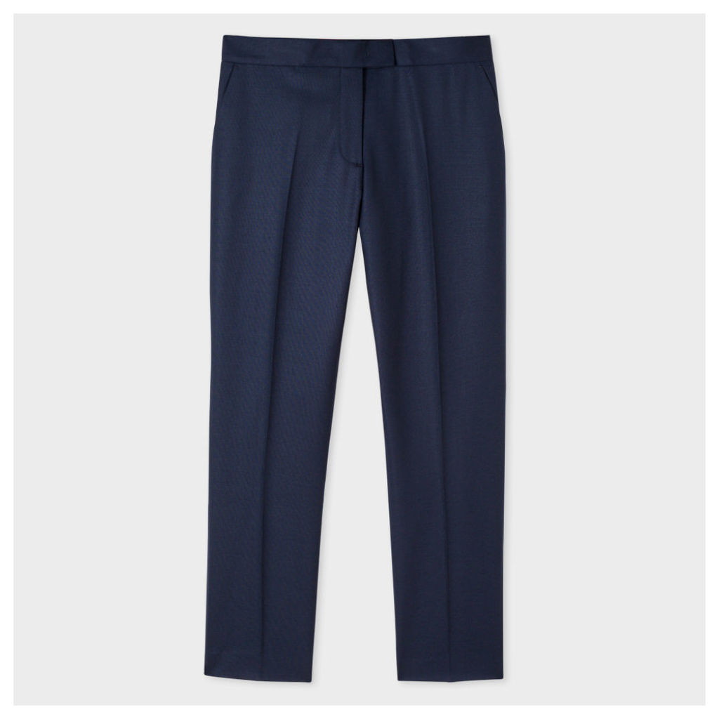 Women's Slim-Fit Navy Wool Trousers