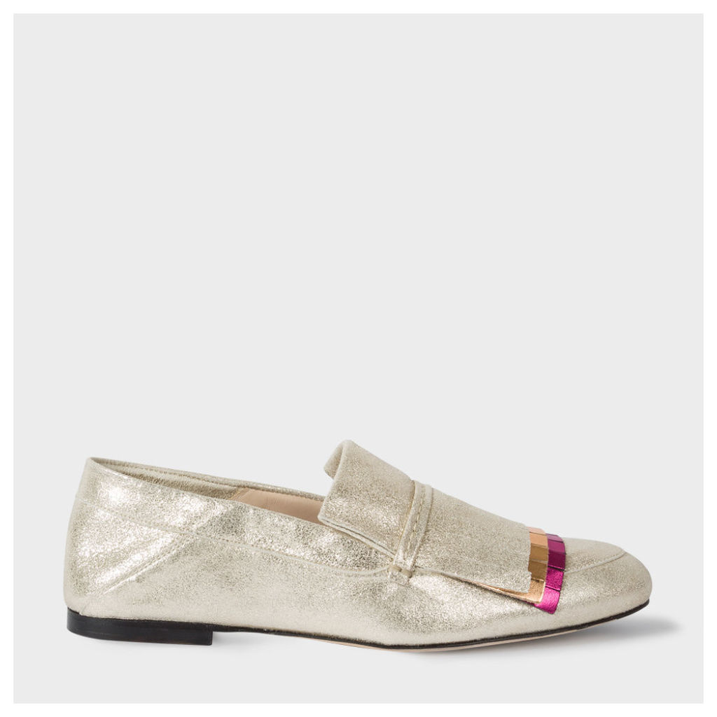 Women's Metallic Suede 'Freya' Loafers With Coloured Fringing