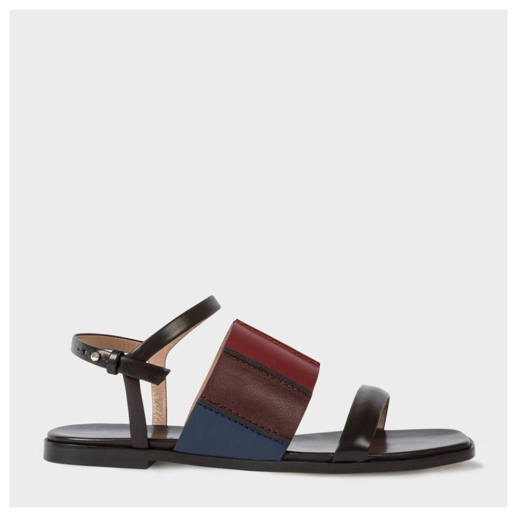 Women's Black Colour-Block Leather 'Constance' Sandals