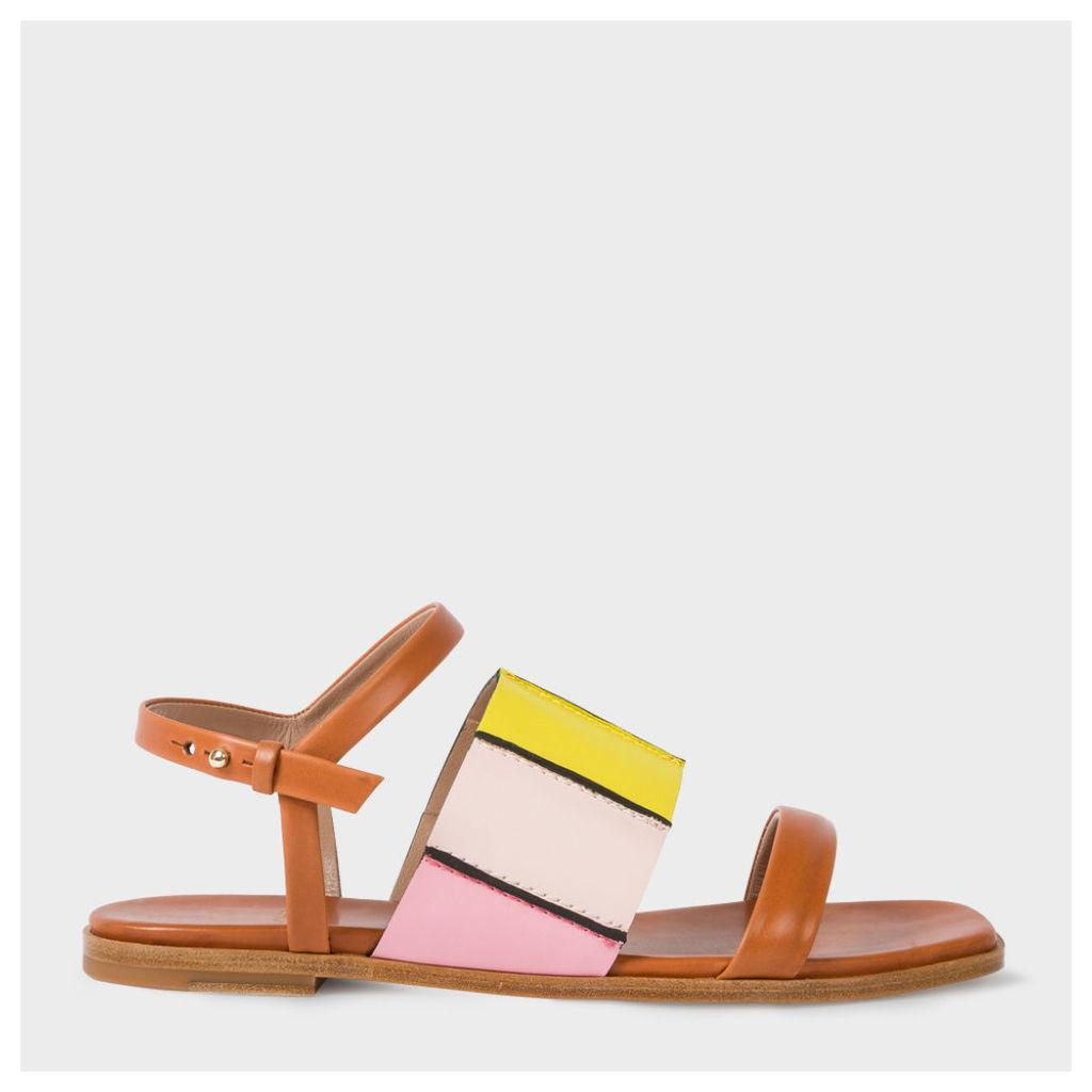 Women's Tan Colour-Block Leather 'Constance' Sandals