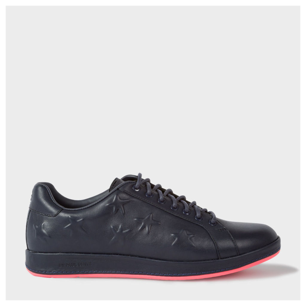Women's Navy Leather 'Lapin' Trainers With Star Emboss