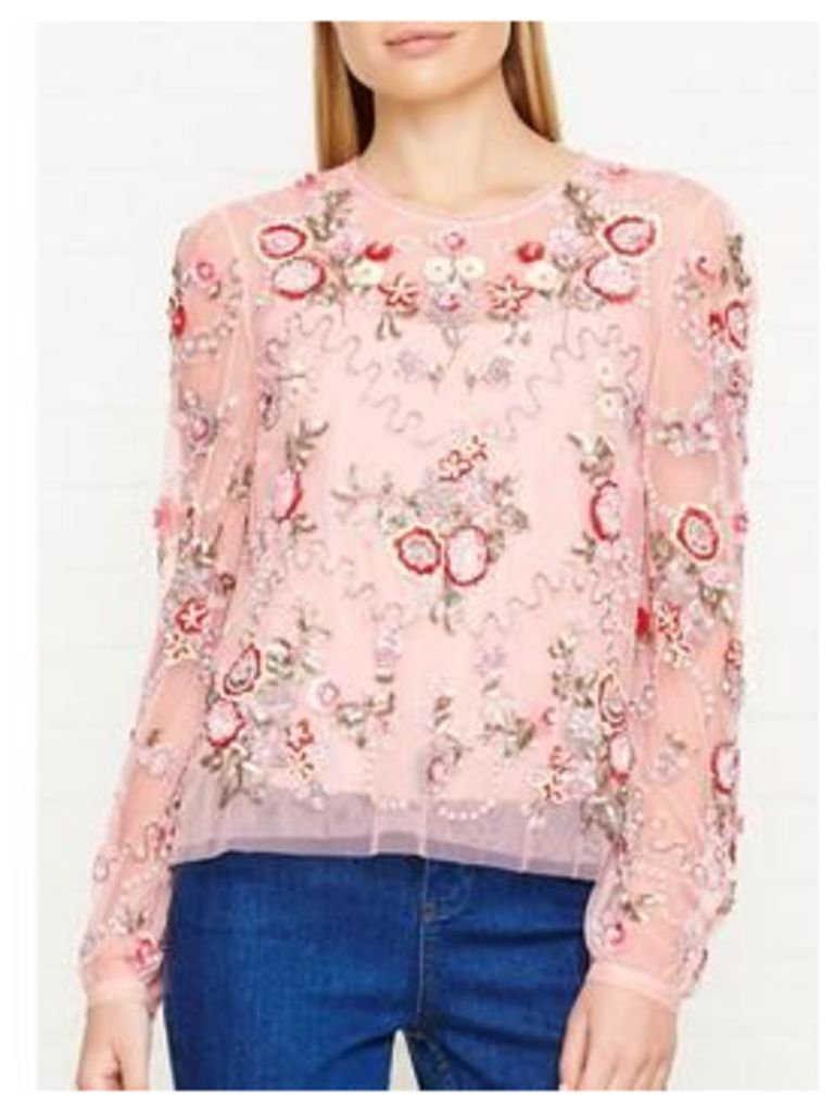 NEEDLE & THREAD Meadow Embellished Top - Pink, Size 16