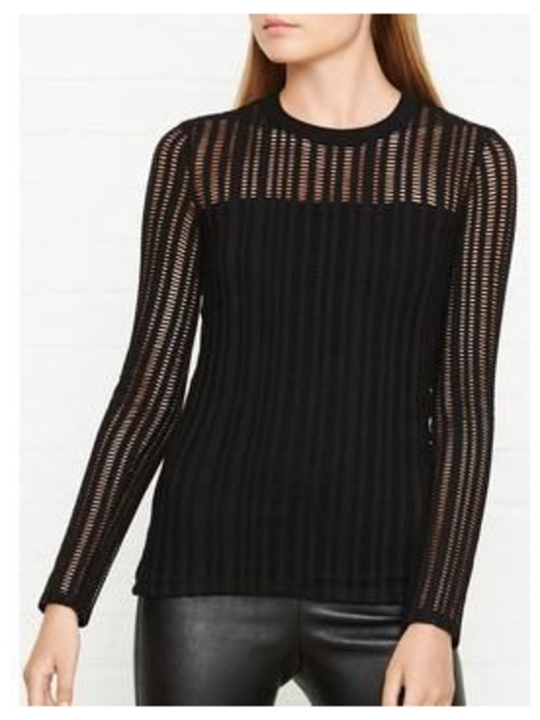 T BY ALEXANDER WANG Jacquard Long Sleeve Top - Black, Size Xs