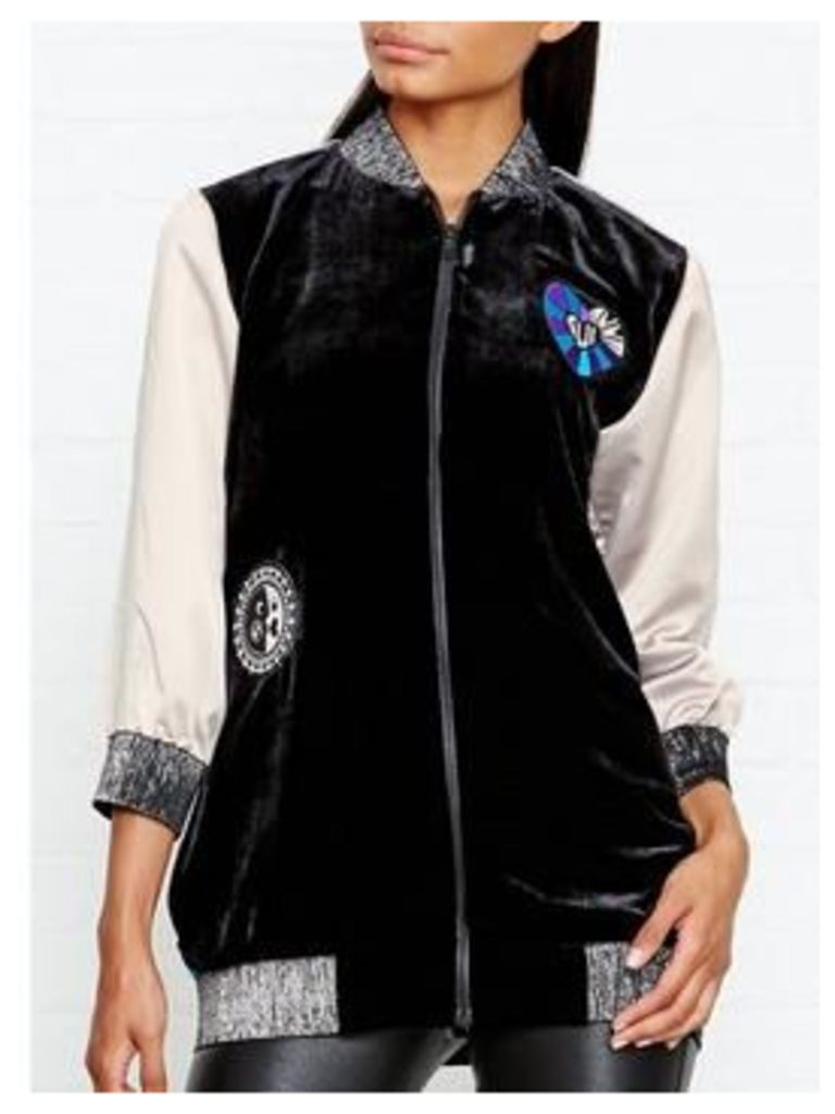 ANNA SUI ALL YOU NEED IS LOVE JACQUARD BOMBER JACKET - BLACK, Size Us 4 = Uk 8