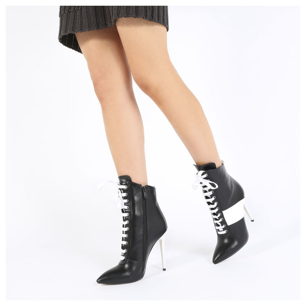 Annika Lace Up Sport Stripe Ankle Boots in Black