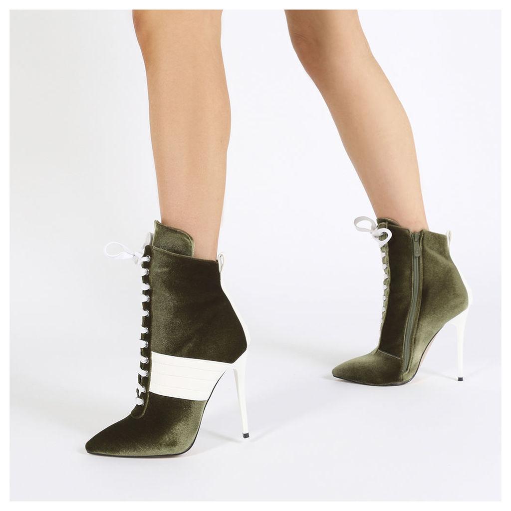 Annika Lace Up Sport Stripe Ankle Boots in Khaki Velvet