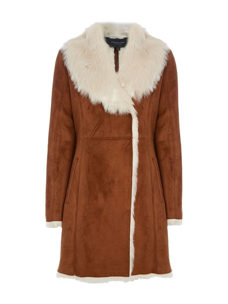 Andrew Marc Faux Shearling Coat, Brown