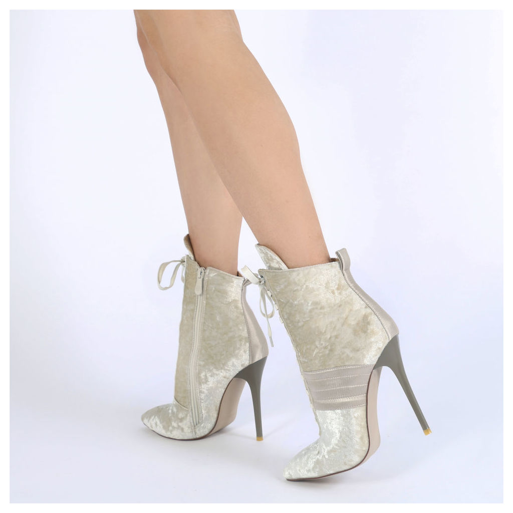 Annika Lace Up Sport Stripe Ankle Boots in Champagne Velvet
