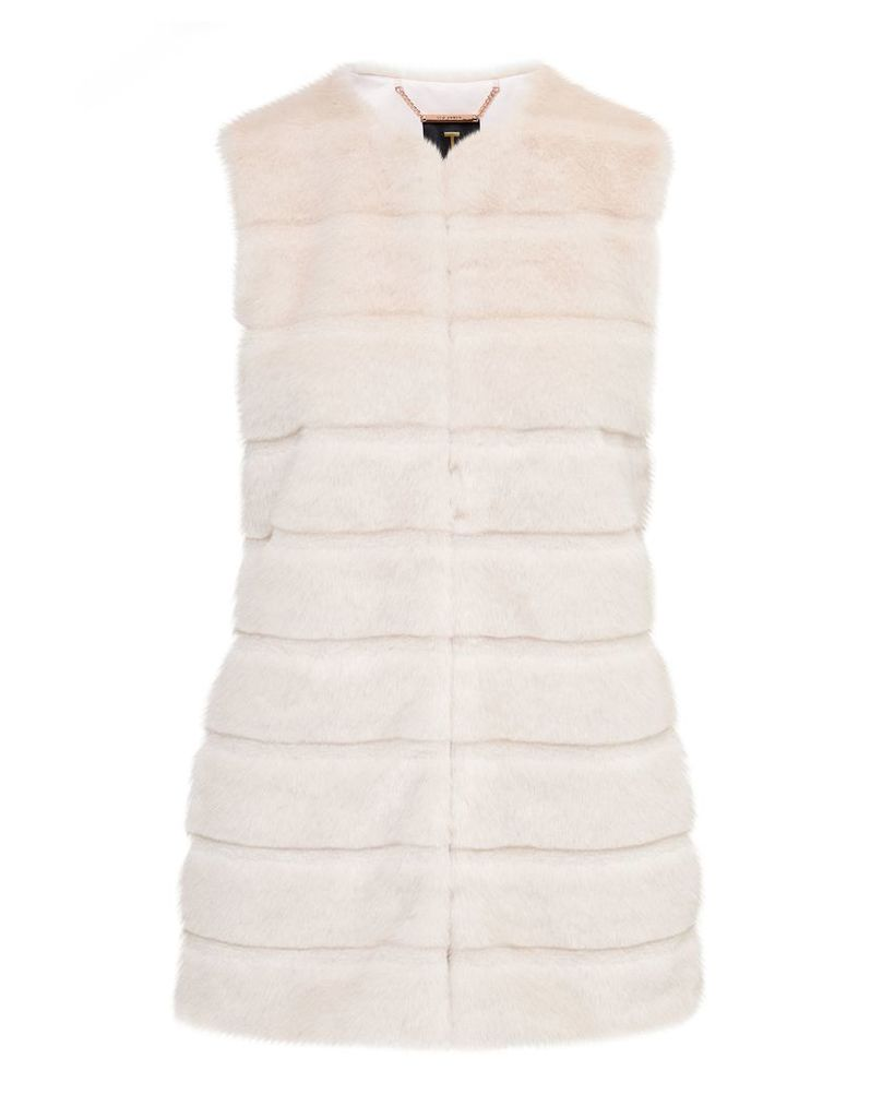 Ted Baker Jeana Textured faux fur gilet, Cream