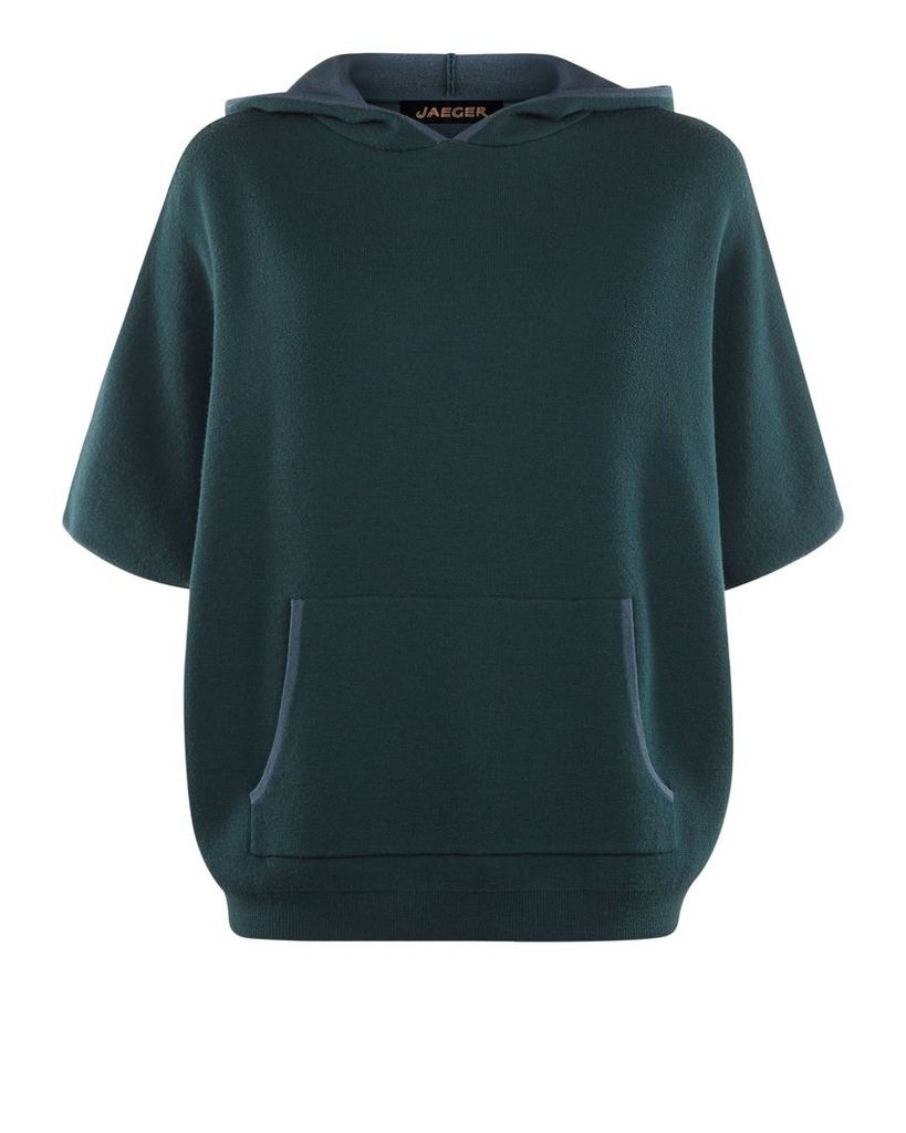 Jaeger Double-Faced Wool Hooded Cape, Green