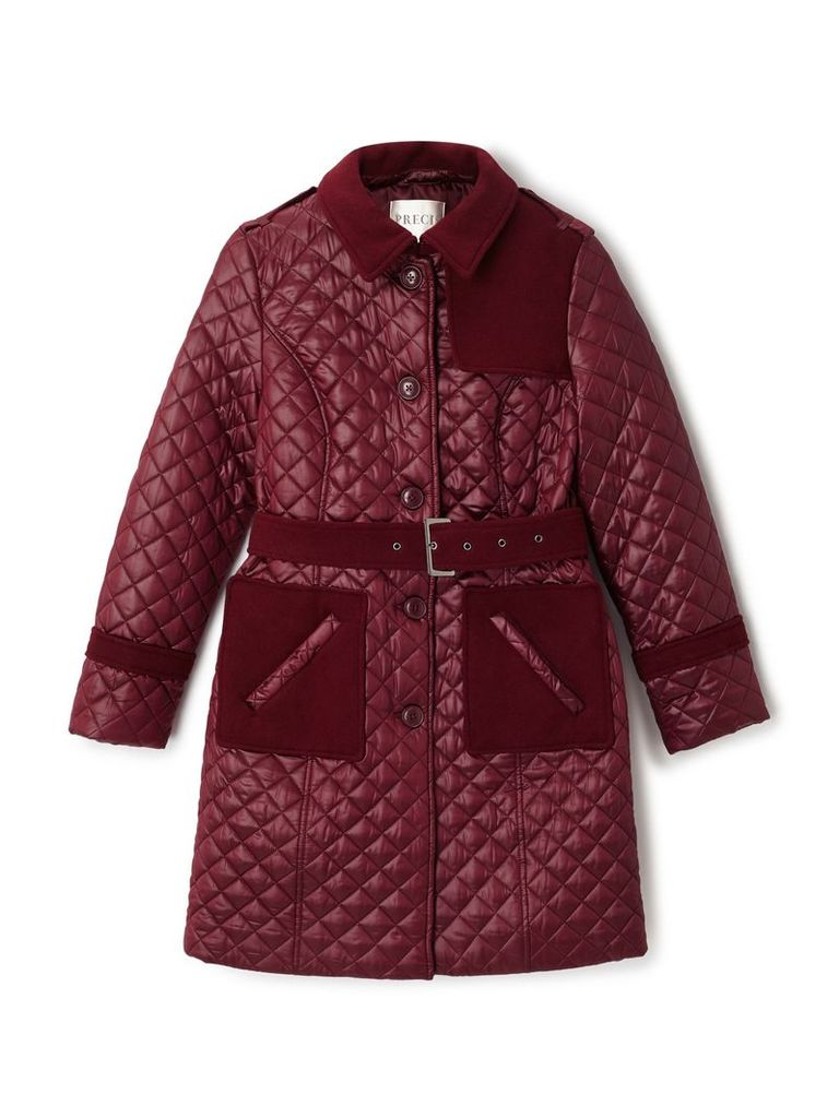 Precis Petite Erin Quilted Belted Trench, Red