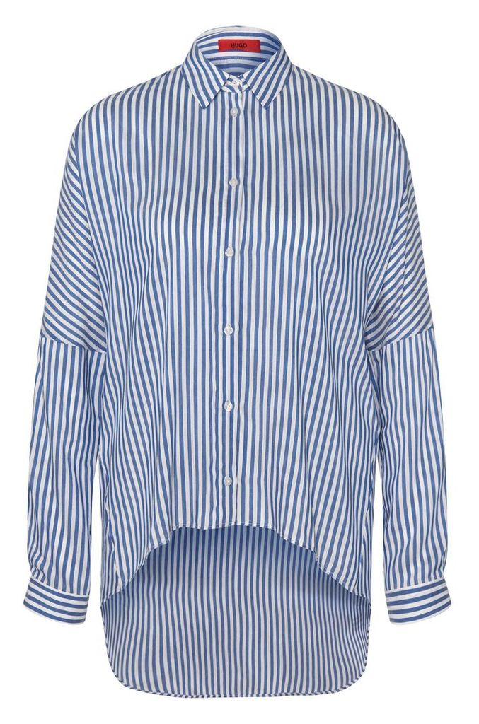 Striped long blouse in viscose blend with silk: `Evanett`