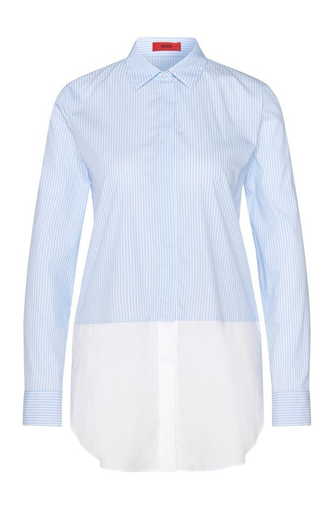 Striped layered-look blouse in stretchy cotton blend: `Efibia`