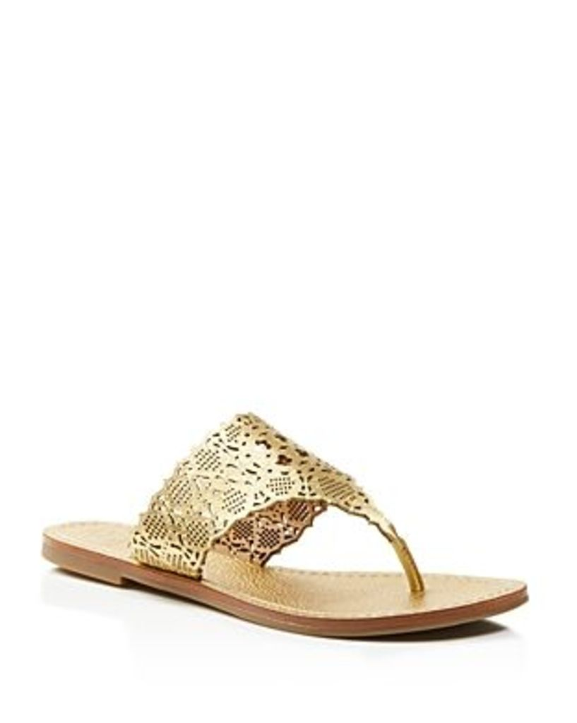 Tory Burch Roselle Metallic Cutout Thong Sandals