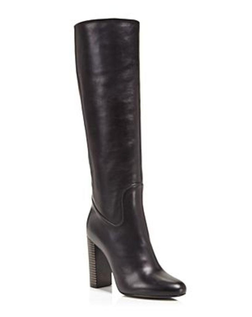 Salvatore Ferragamo Filippo Tall Striped Block Heel Boots