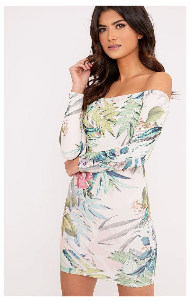 Dahliah Cream Floral Print Bardot Bodycon Dress, White