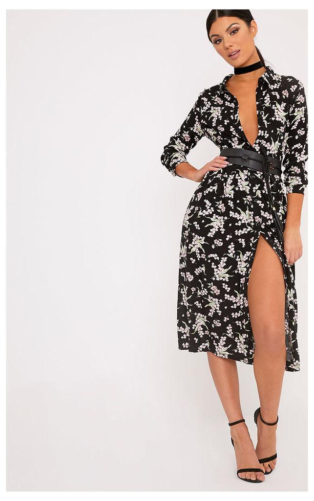 Arian Black Floral Midi Shirt Dress, Black