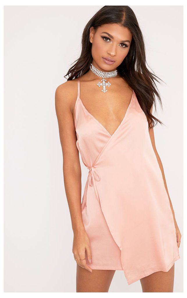 Pippa Nude Satin Wrap Shift Dress, Pink
