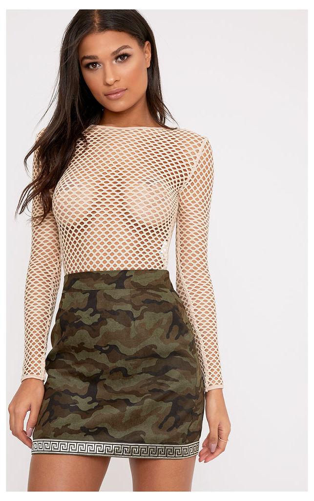 Bonnie Khaki Metallic Trim Camo Mini Skirt, Green