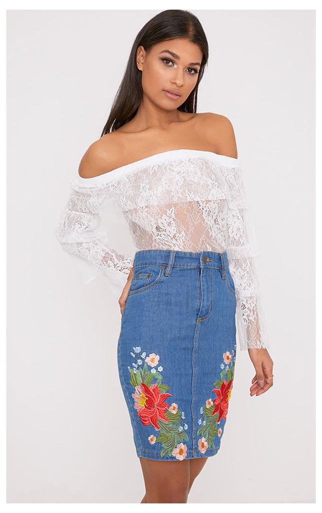 Seren Mid Wash Floral Embroidered Midi Skirt, Mid Blue Wash