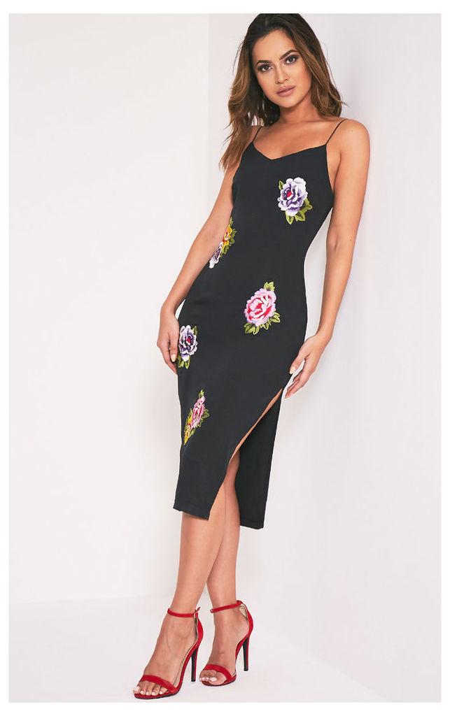 Fiana Black Floral Embroidered Strappy Midi Dress, Black