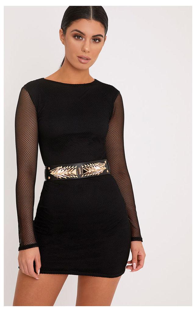 Kalyn Black Fishnet Bodycon Dress, Black