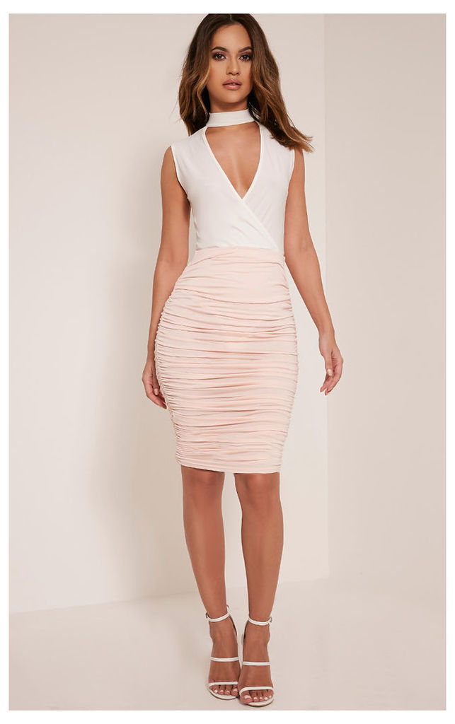 Katerina Nude Ruched Side Midi Skirt, Pink