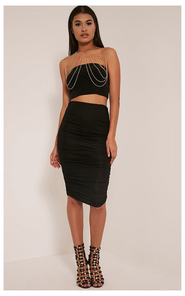 Katerina Black Ruched Side Midi Skirt, Black