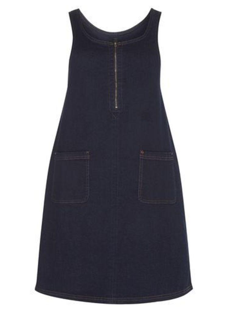 Dark Denim Zip Pinafore Dress, Blue