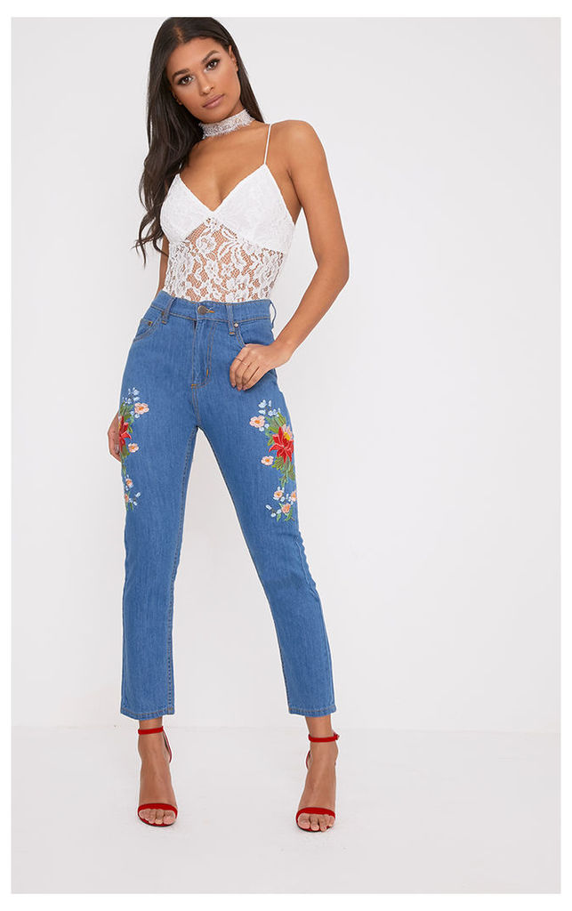 Kendall Mid Wash Floral Embroidered Slim Mom Fit Jean, Mid Blue Wash