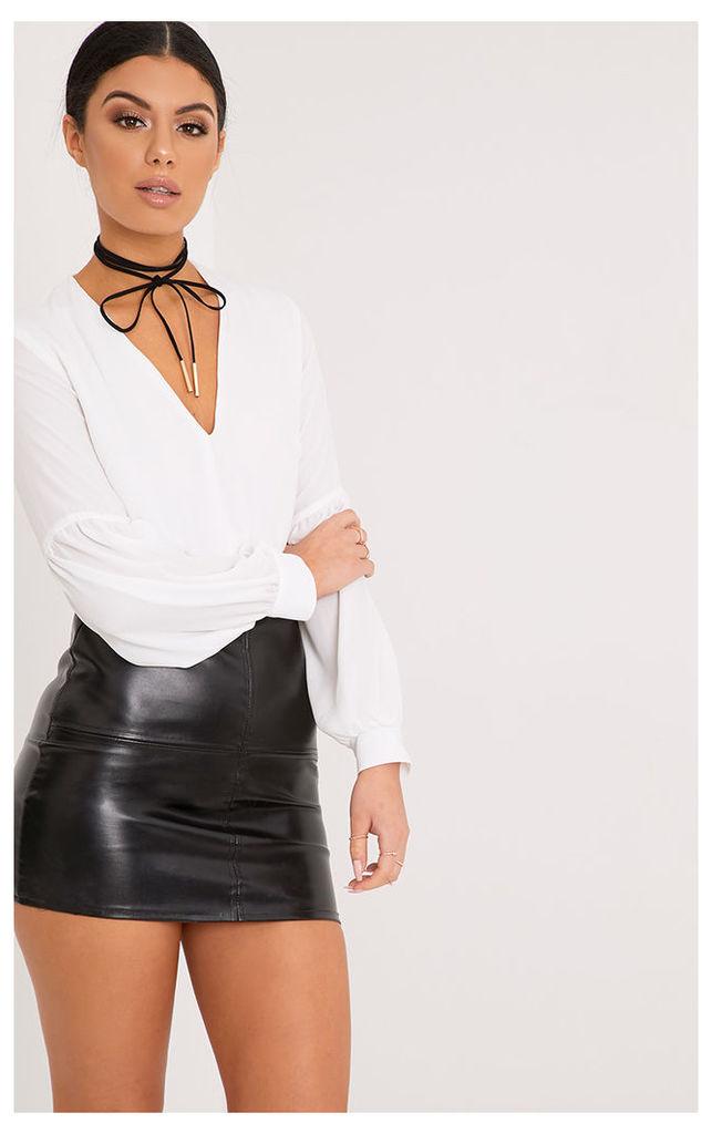 Wila Cream Woven V Neck Puff Sleeve Thong Bodysuit, White