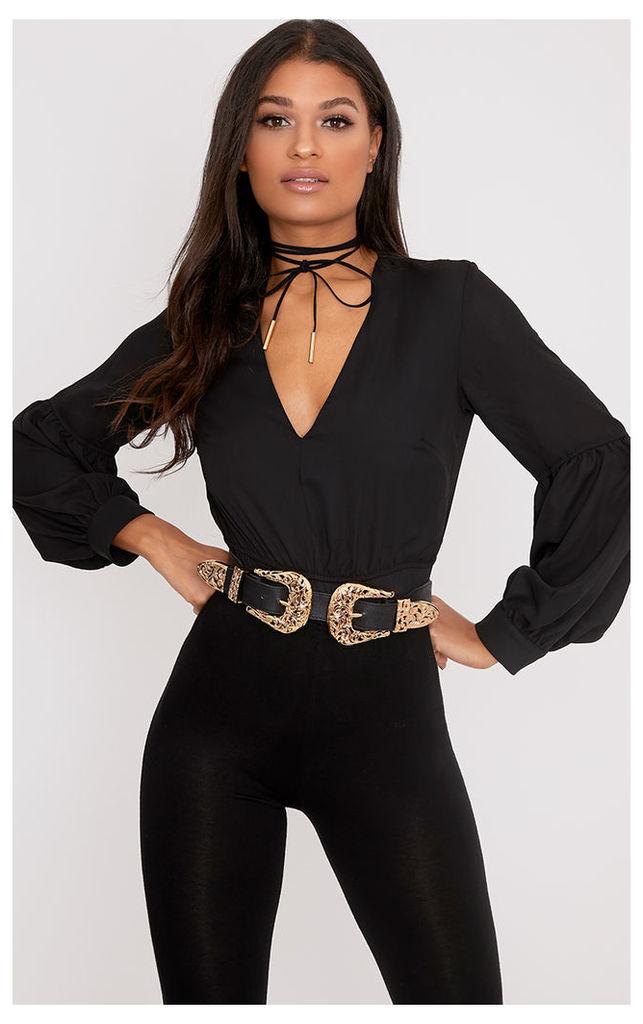 Wila Black Woven V Neck Puff Sleeve Thong Bodysuit, Black