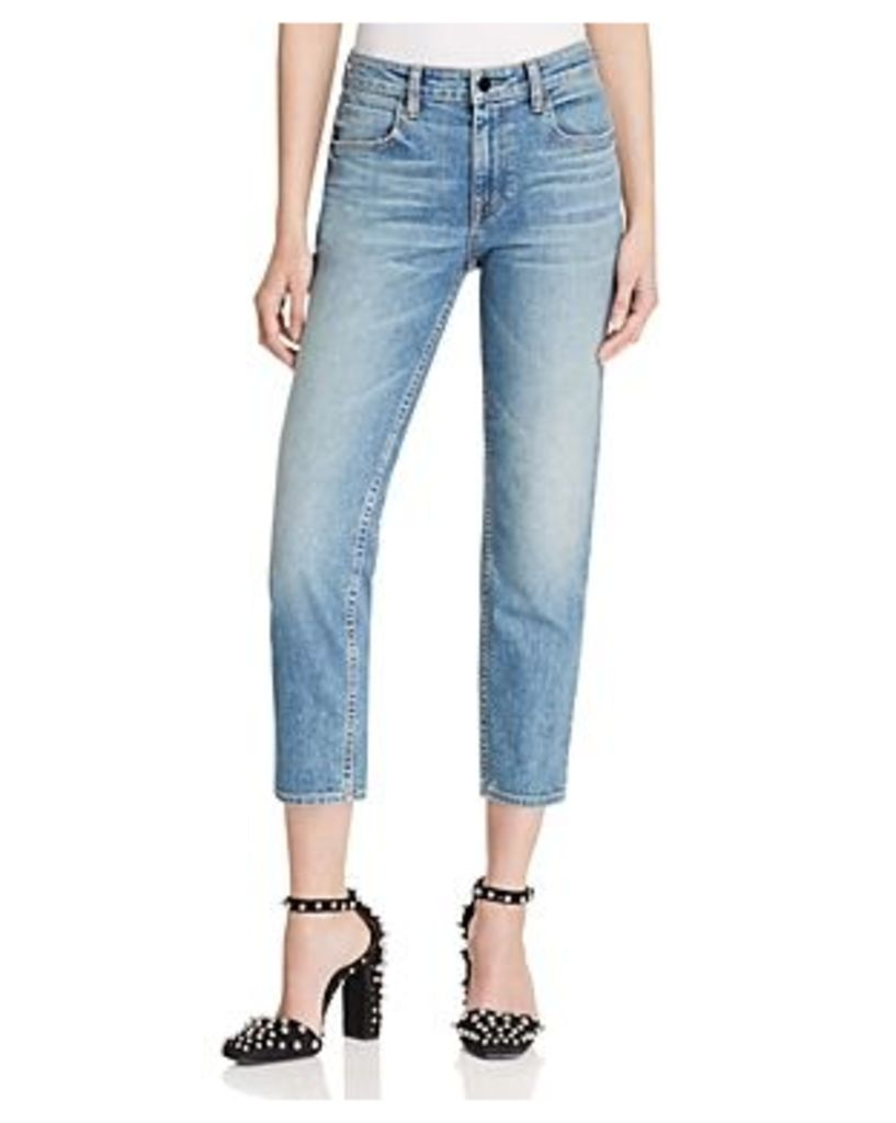 T by Alexander Wang Ride Straight Crop Jeans in Light Indigo Aged