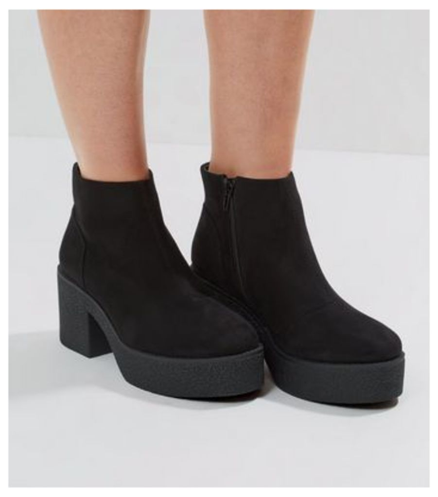 Black Suedette Chunky Textured Sole Heels