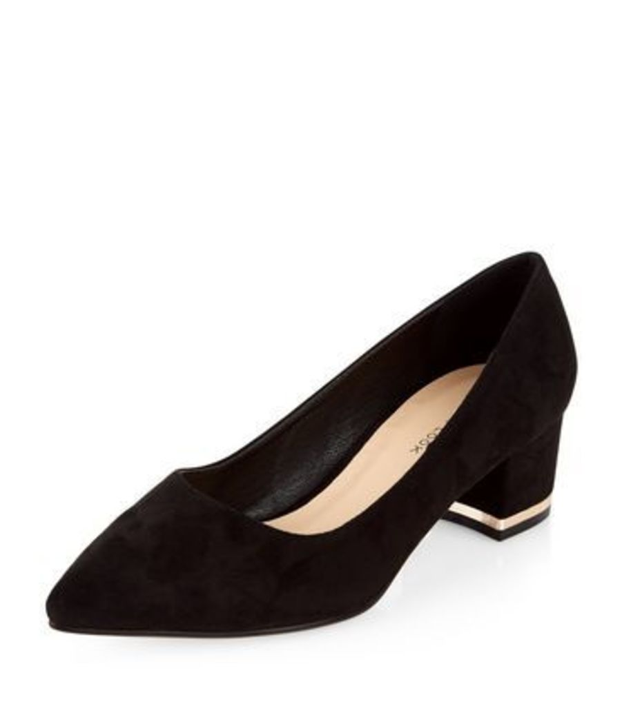 Wide Fit Black Suede Pointed Block Heels