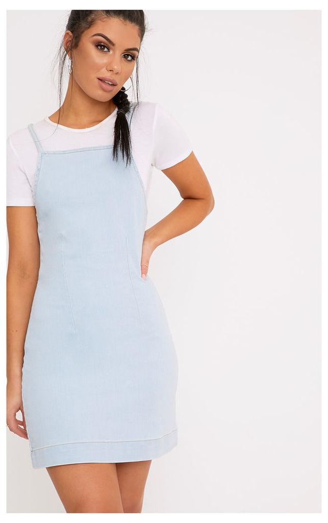 Lakin Light Wash Denim Pinafore Dress, Light Blue Wash